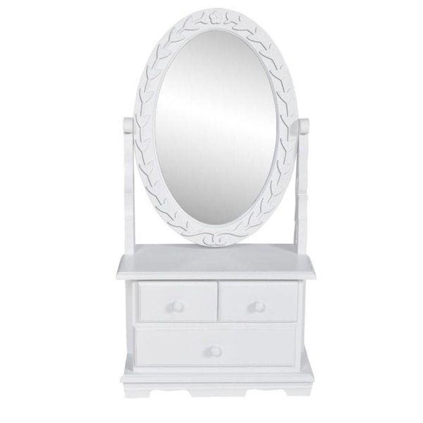 Kaptafel met draaiende ovale spiegel MDF