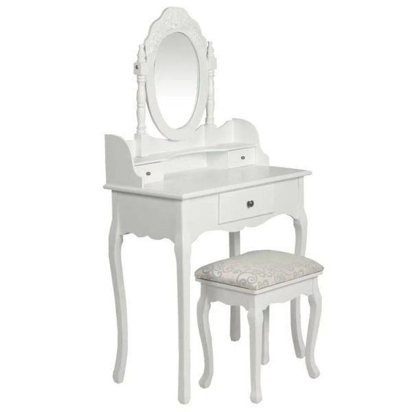 Kaptafel met spiegel en krukje wit