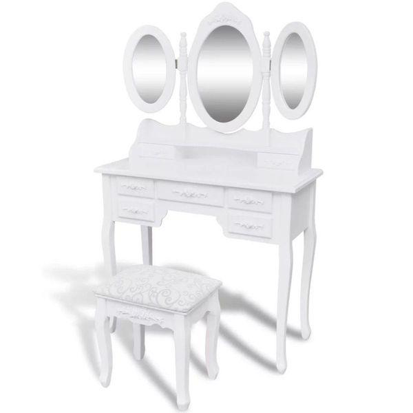 Kaptafel 3 spiegels en krukje wit