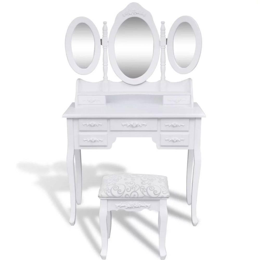 Spiegel Voor Op Kaptafel.Vidaxl Kaptafel 3 Spiegels En Krukje Wit Voordeeltrends