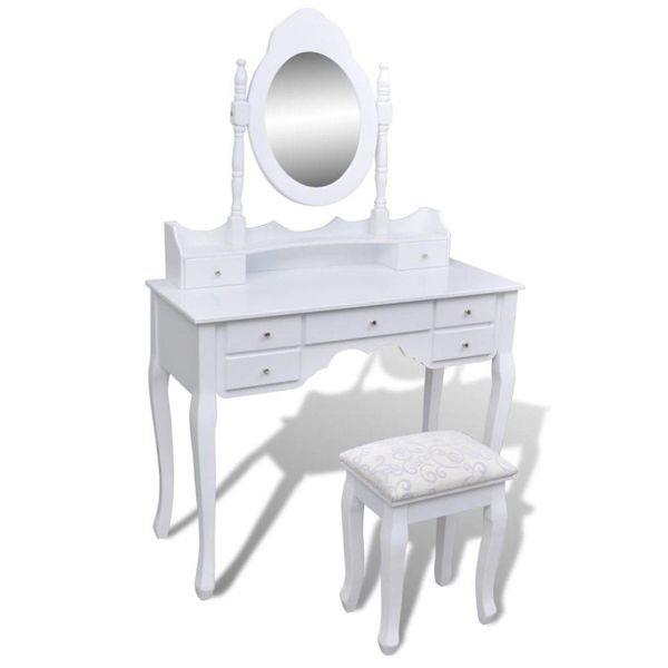 Kaptafel met 7 lades, spiegel en krukje wit