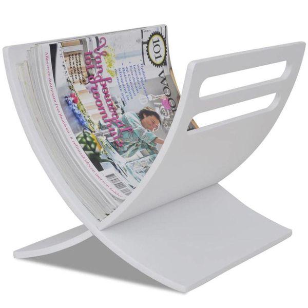 Tijdschriftenrek staand hout wit