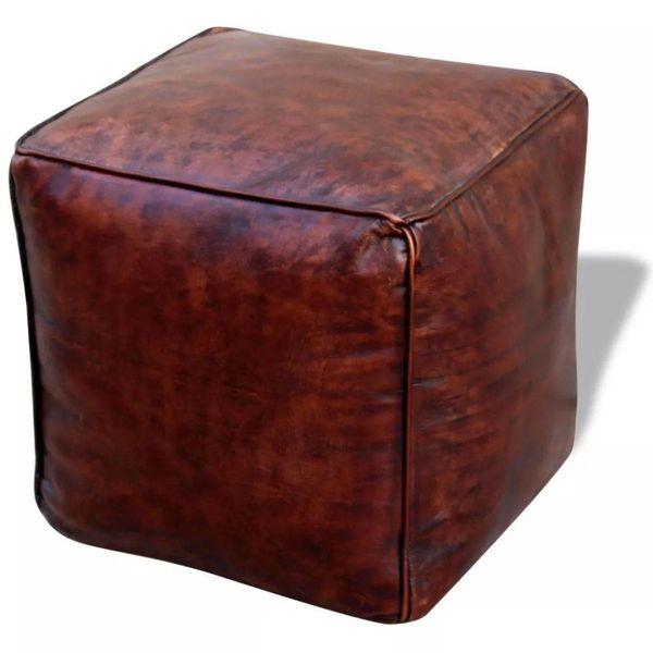 Poef echt leer vierkant bruin 45x45x45 cm