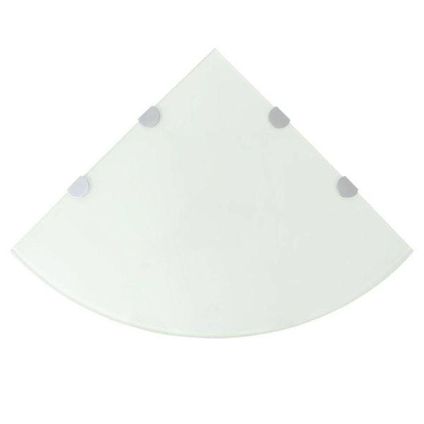 Hoekschap met chromen dragers wit 45x45 cm glas