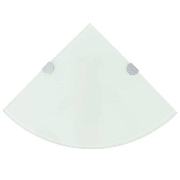 Hoekschap met chromen dragers wit 35x35 cm glas