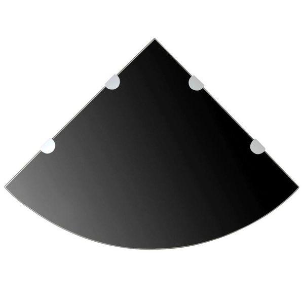 Hoekschap met chromen dragers zwart 45x45 cm glas