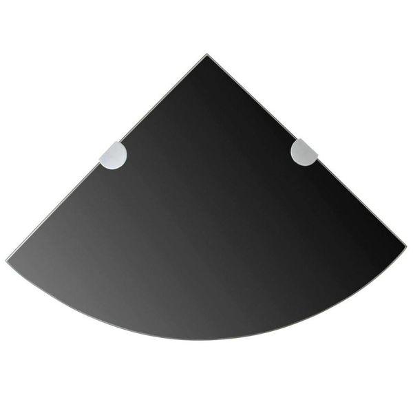 Hoekplank met chromen dragers zwart 25x25 cm glas