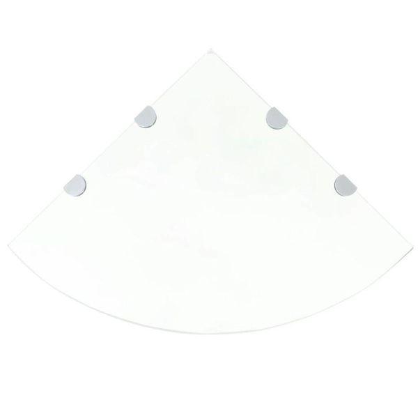 Hoekschap met chromen dragers transparant 45x45 cm glas