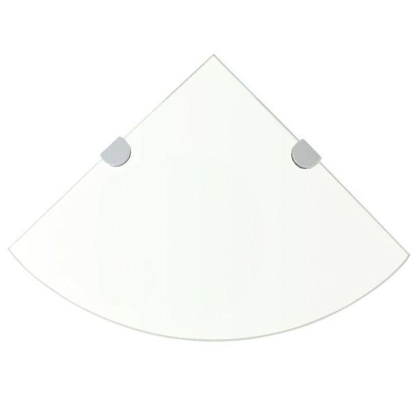 Hoekschap met chromen dragers transparant 25x25 cm glas