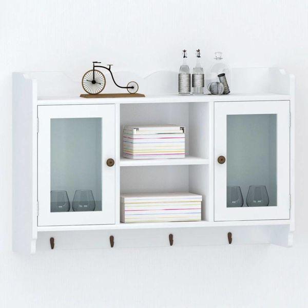 Vitrinekast met boekenplank wit MDF