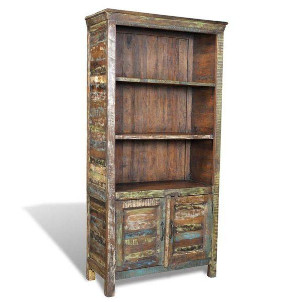 Boekenkast gerecycled hout met 3 planken en 2 deurtjes