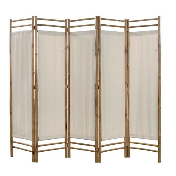 Kamerverdeler 5-panelen inklapbaar 200 cm bamboe en canvas