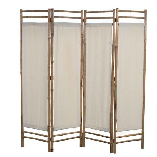 Kamerverdeler 4-panelen inklapbaar 160 cm bamboe en canvas