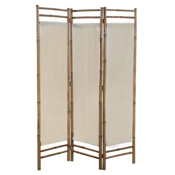 Kamerverdeler 3-panelen inklapbaar 120 cm bamboe en canvas