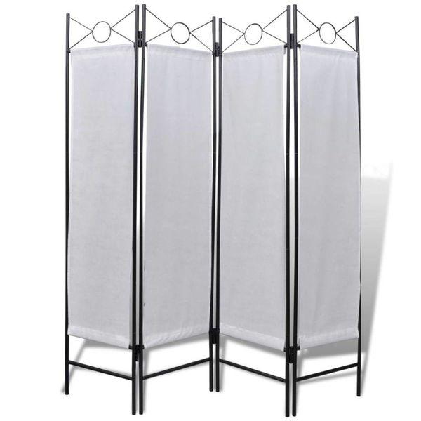 Inklapbaar kamerscherm met 4 panelen wit 160x180 cm