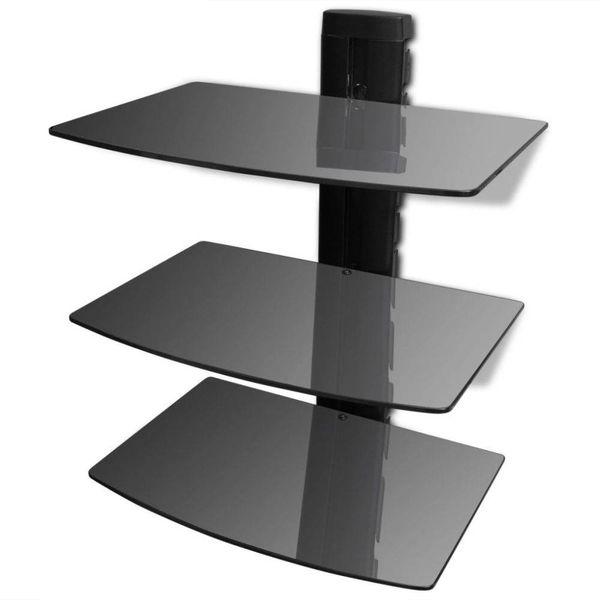 Glazen wandrek met 3 planken voor DVD's