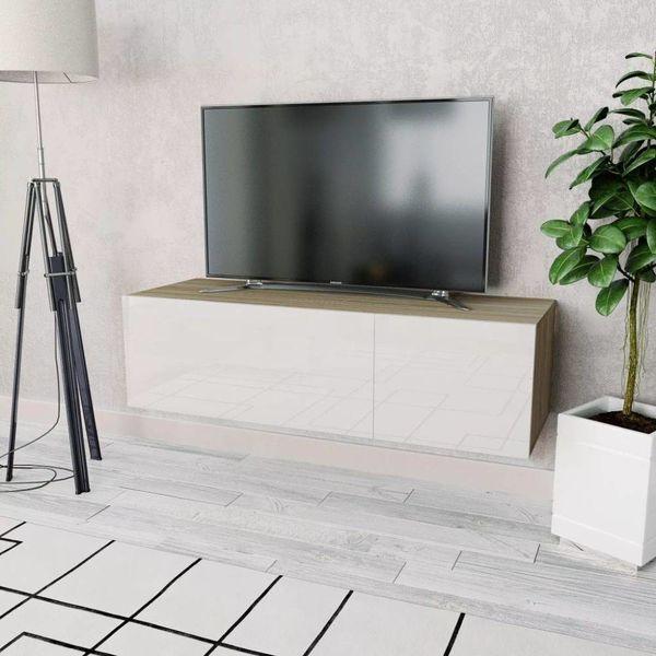Tv-kast 120x40x34 cm spaanplaat hoogglans wit en eikenkleur