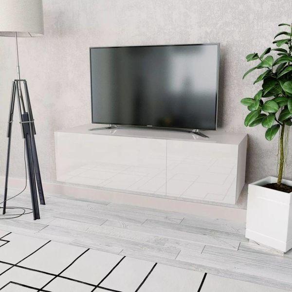 Tv-kast 120x40x34 cm spaanplaat hoogglans wit