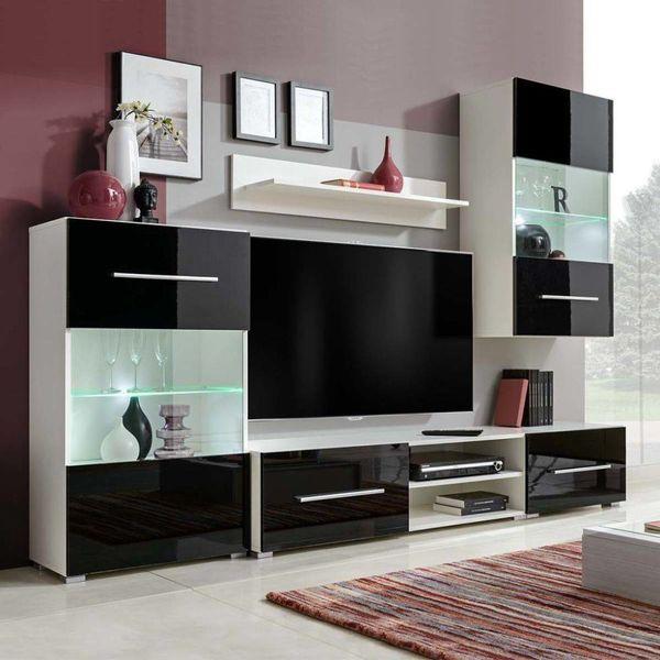 Muurvitrine tv-meubel met LED-verlichting zwart 5-delig