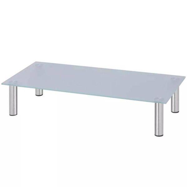Scherm verhoger/TV-meubel 80x35x17 cm glas wit