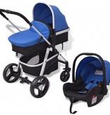 vidaXL Kinderwagen 3-in-1 blauw en zwart aluminium