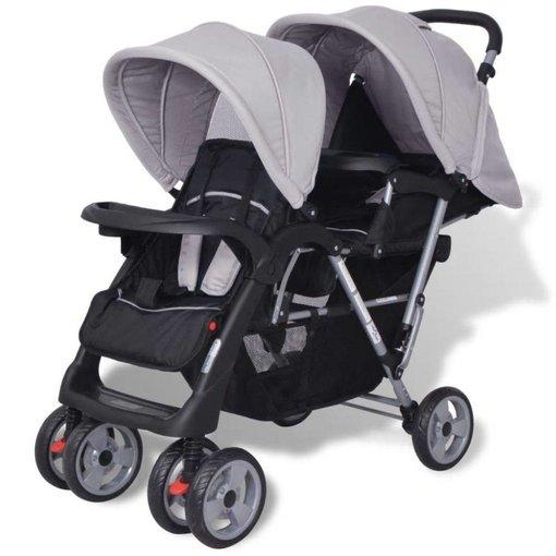 vidaXL Dubbele kinderwagen staal grijs en zwart