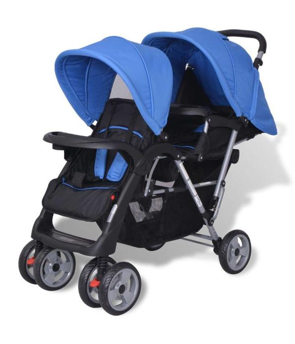 vidaXL Dubbele kinderwagen staal blauw en zwart