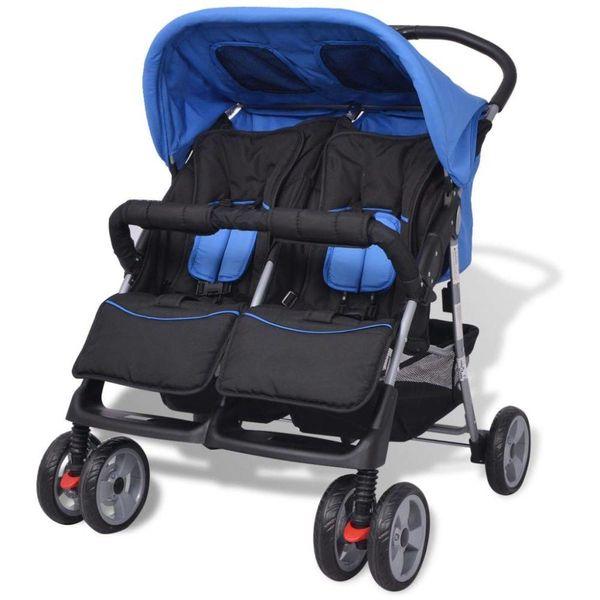 Tweelingkinderwagen staal blauw en zwart