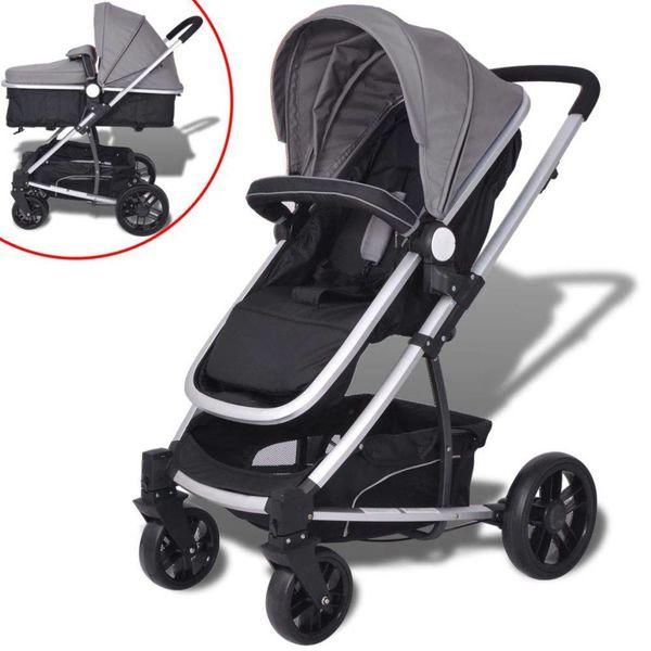Kinderwagen 2-in-1 grijs en zwart aluminium