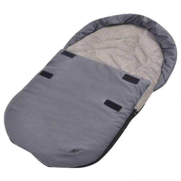 Voetenzak/trappelzak voor kinderwagen/autostoel 75x40 cm grijs