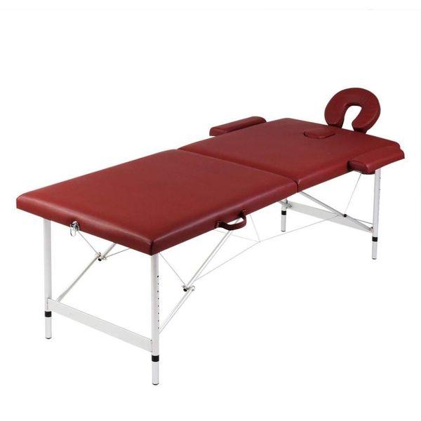 Inklapbare massagetafel 2 zones met aluminium frame (rood)