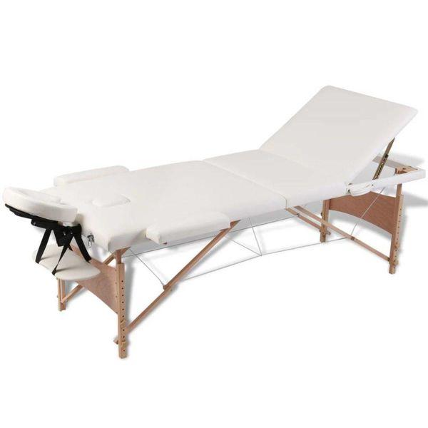 Inklapbare massagetafel 3 zones met houten frame (creme)