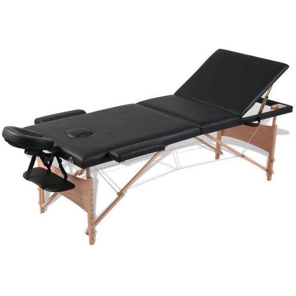 Inklapbare massagetafel 3 zones met houten frame (zwart)