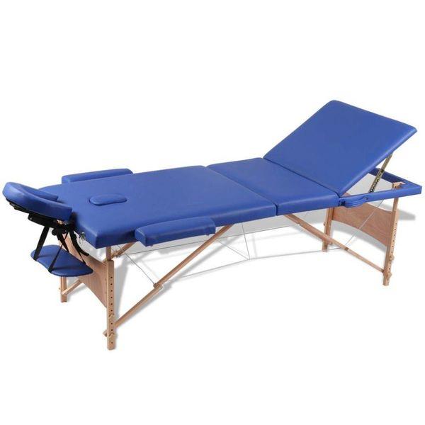Inklapbare massagetafel 3 zones met houten frame (blauw)