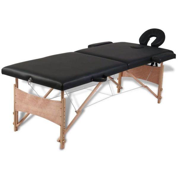 Inklapbare massagetafel 2 zones met houten frame (zwart)