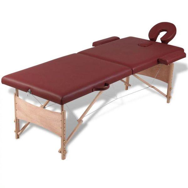 Inklapbare massagetafel 2 zones met houten frame (Rood)