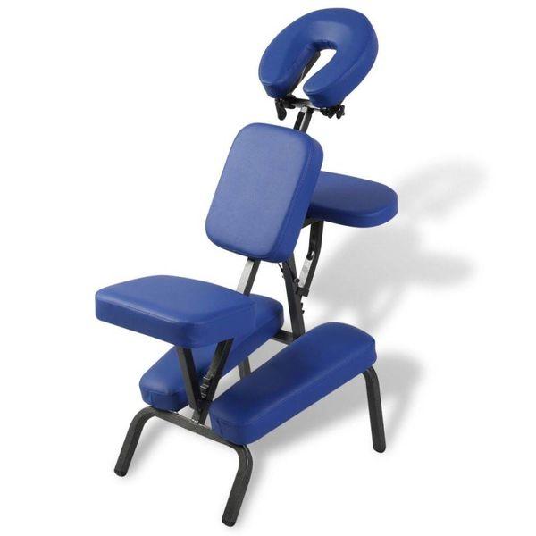 Massagestoel inklapbaar en draagbaar (blauw)