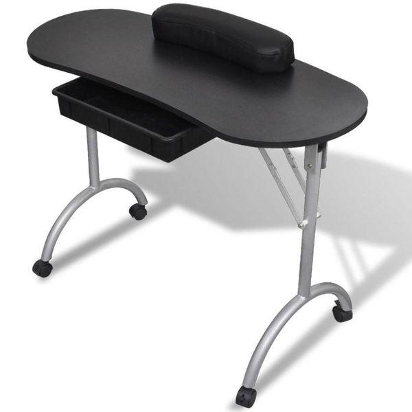 Manicure tafel met wieltjes (Opvouwbaar) (Zwart)