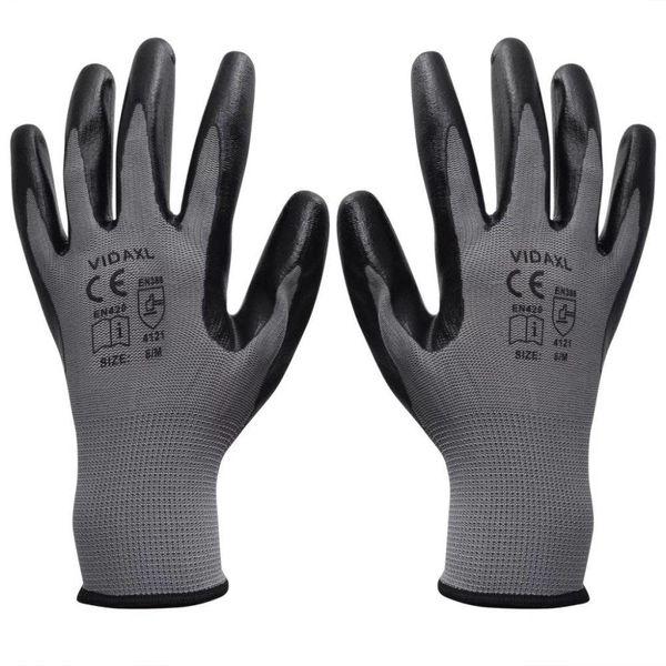 Werkhandschoenen nitrilrubber 24 paar grijs en zwart maat 8/M