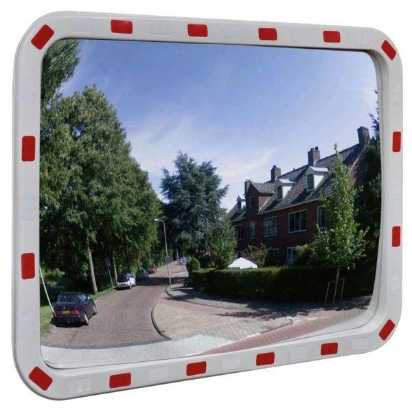 Verkeersspiegel rechthoek met reflectoren 60x80 cm