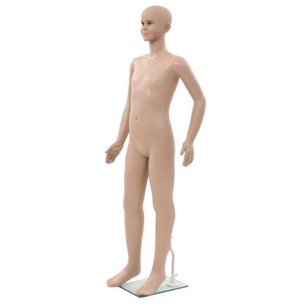 Etalagepop kind met glazen voet 140 cm beige