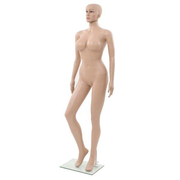 Etalagepop sexy vrouw met glazen voet 180 cm beige