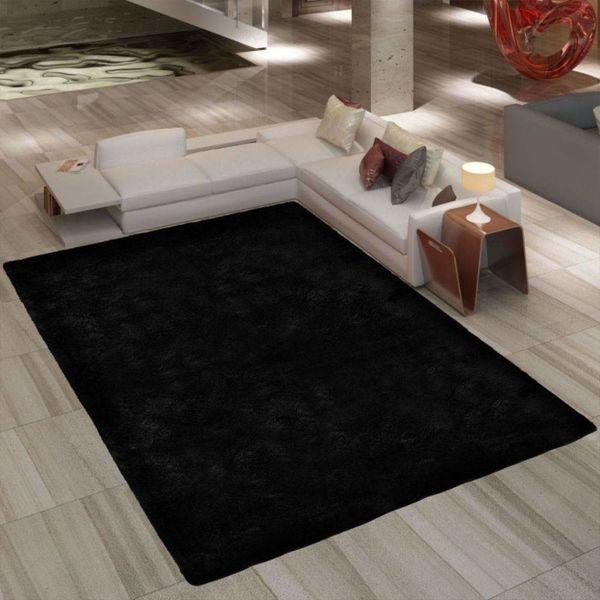 Hoogpolig tapijt zwart 120 x 170 cm