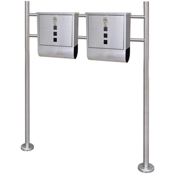 Dubbele brievenbus op RVS standaard