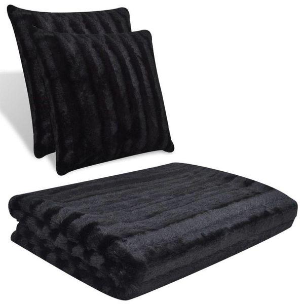 2 kussens en deken van nepbont (zwart)