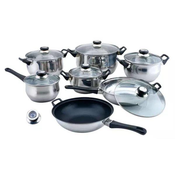 Pannenset rvs 14-delig met wok