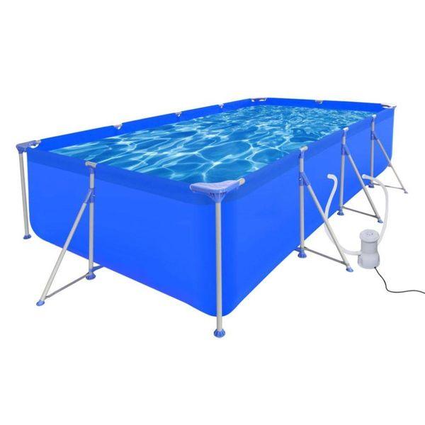 Opbouw zwembad met stalen frame en filterpomp 394 x 207 x 80 cm