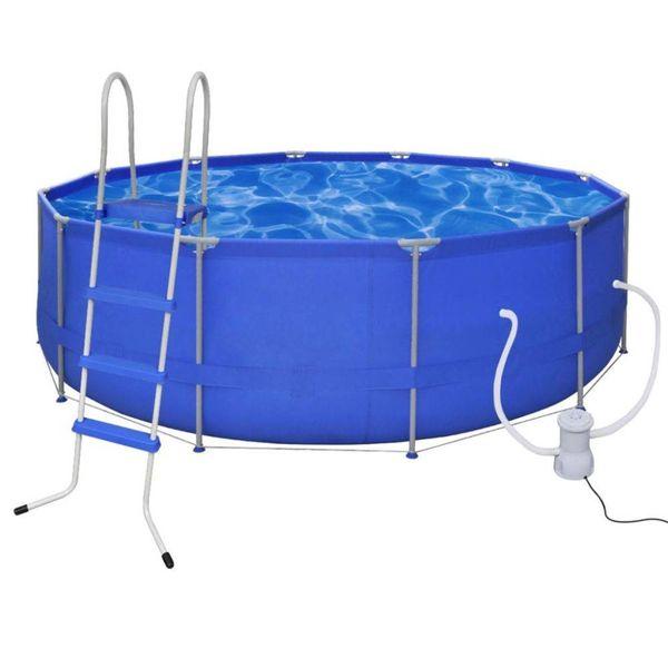 Opbouwzwembad met ladder en filterpomp rond 457 cm