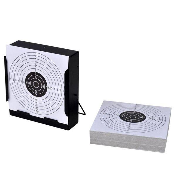 Schietkaart vierkant met kogelvanger + 100 papieren doelen