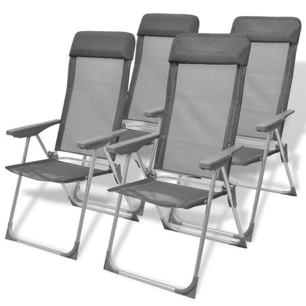 Campingstoelen 56x60x112 cm aluminium grijs 4 st